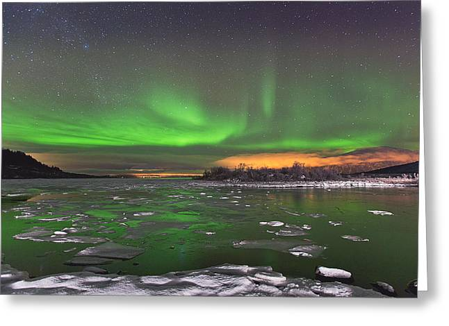 Ice and Auroras Greeting Card by Frank Olsen