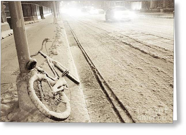 Streetlight Greeting Cards - Ice Bike Greeting Card by Donald Groves
