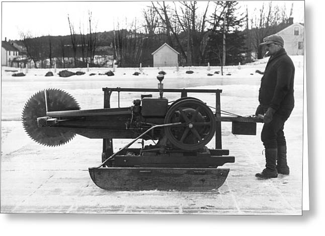 Ice Block Cutting Machine Greeting Card by Underwood Archives