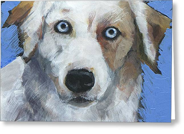 Cattle Dog Paintings Greeting Cards - Ice Blue Greeting Card by Mary Medrano