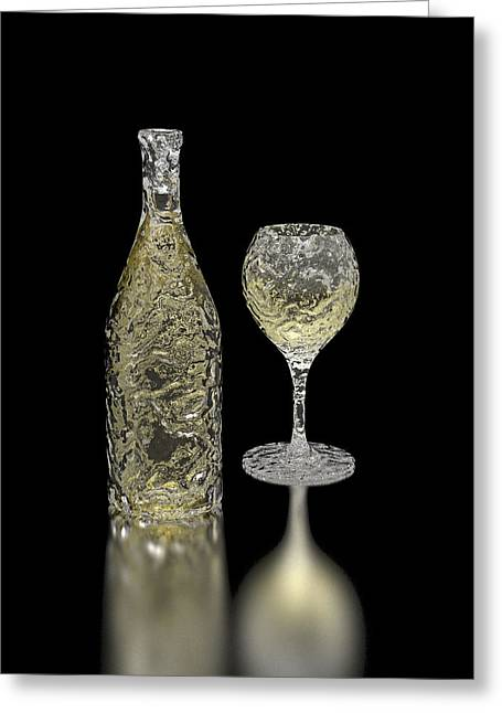 Icewine Digital Greeting Cards - Ice Bottle and Glass Greeting Card by Hakon Soreide