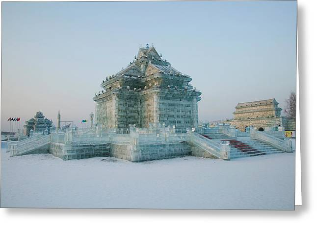 Chinese Architecture And Art Greeting Cards - Ice Building At The Harbin Greeting Card by Panoramic Images