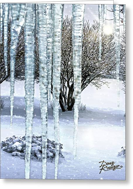 Snow Scene Landscape Greeting Cards - Ice Capades Greeting Card by Doug Kreuger