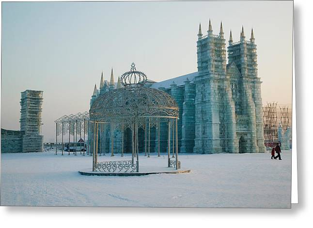 Chinese Architecture And Art Greeting Cards - Ice Cathedral At The Harbin Greeting Card by Panoramic Images