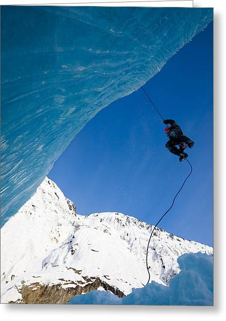Rappel Greeting Cards - Ice Climber Rappels Down Shakes Greeting Card by Quentin Smith