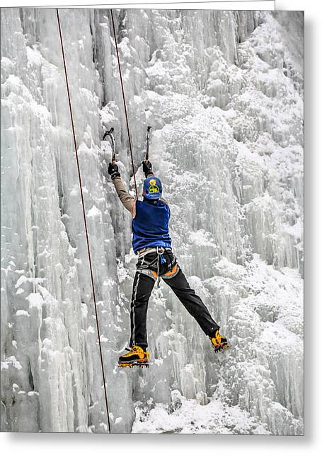Forzen Greeting Cards - Ice Climbing Alaska Greeting Card by Sam Amato