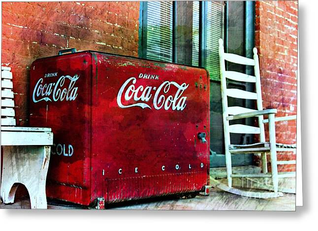 Screen Door Greeting Cards - Ice Cold Coca Cola Greeting Card by Benanne Stiens