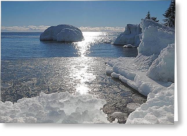 Ice Cold Day On Lake Superior Greeting Card by Sandra Updyke