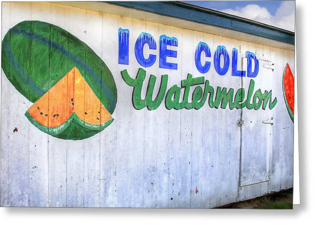 Watermelon Greeting Cards - Ice Cold Watermelon Greeting Card by David and Carol Kelly