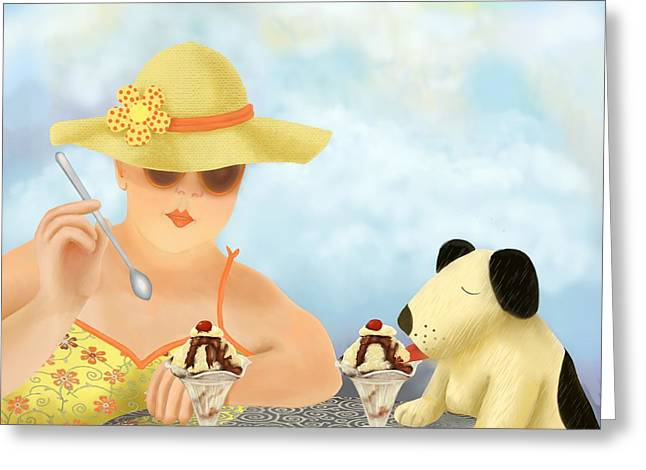 Female Friendship Greeting Cards - Ice-cream For Two Greeting Card by Marlene Watson