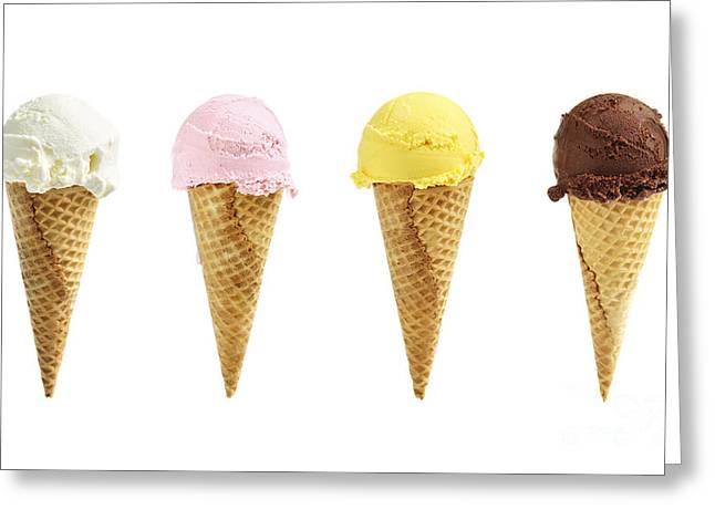 Organic Photographs Greeting Cards - Ice cream in sugar cones Greeting Card by Elena Elisseeva