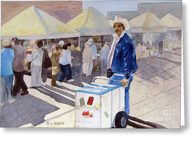 Street Fairs Greeting Cards - Ice cream man Greeting Card by Sandy Linden
