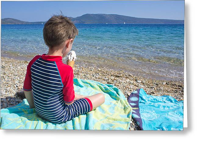 Children Ice Cream Greeting Cards - Ice cream on the beach Greeting Card by Tom Gowanlock