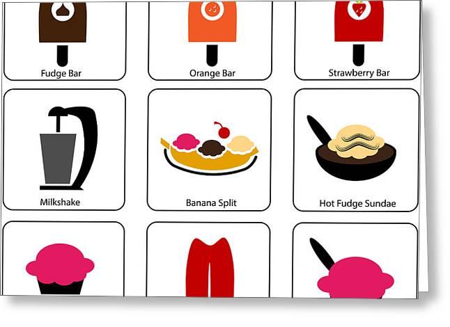 Chocolate Milkshake Greeting Cards - Ice Cream Parlor Icons Greeting Card by John Takai