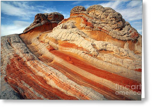 White Sandstone Greeting Cards - Ice Cream rock of White Pockets Greeting Card by Keith Kapple