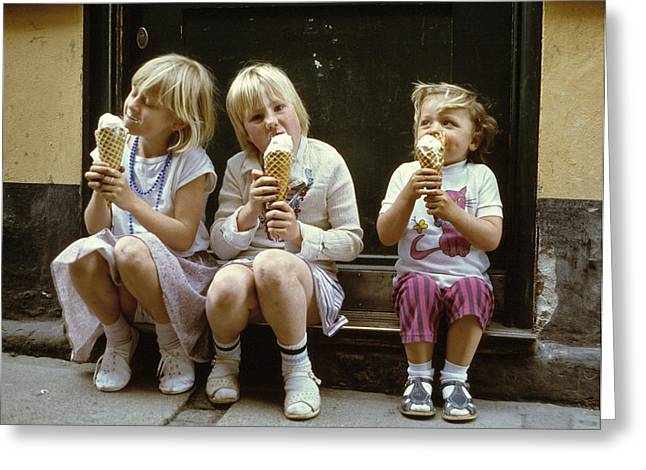 Kid Eating Ice Cream Greeting Cards - Ice Cream Treat 1980s Greeting Card by David Davies