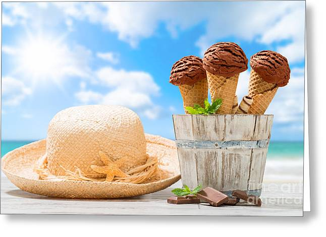 Chunk Greeting Cards - Ice Creams At The Beach Greeting Card by Amanda And Christopher Elwell