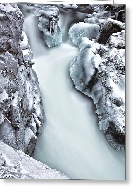River Scenes Greeting Cards - Ice Creek Cascade Greeting Card by Darren  White