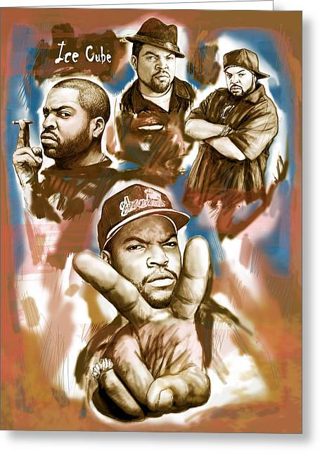 Rap Greeting Cards - Ice cube group drawing pop art sketch poster Greeting Card by Kim Wang
