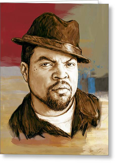 Featured Mixed Media Greeting Cards - Ice Cube - stylised pop art drawing portrait poster  Greeting Card by Kim Wang