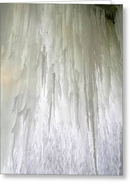 Behind The Falls Greeting Cards - Ice Falls Greeting Card by Sandy Fraser