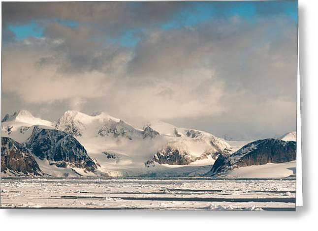Svalbard Greeting Cards - Ice Floes And Storm Clouds In The High Greeting Card by Panoramic Images