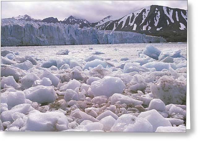 People On Ice Greeting Cards - Ice Floes In The Sea With A Glacier Greeting Card by Panoramic Images