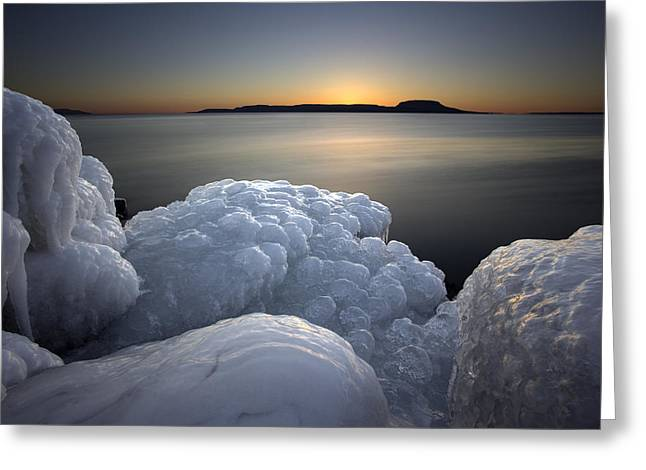 Beach Road Greeting Cards - Ice Formations before sunrise Greeting Card by Jakub Sisak