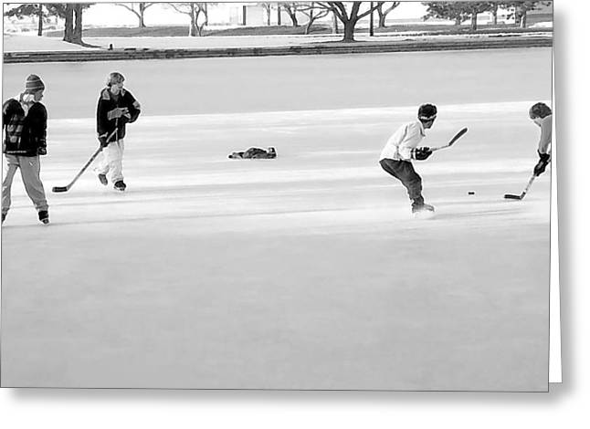 Old Skates Mixed Media Greeting Cards - Ice Hockey - Black and White - Nostalgic Greeting Card by Steve Ohlsen