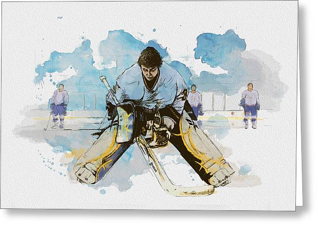 Goalie Paintings Greeting Cards - Ice Hockey Greeting Card by Corporate Art Task Force