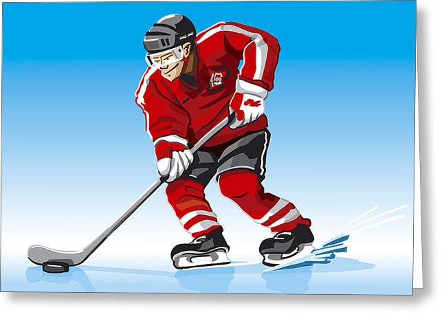 Competition Greeting Cards - Ice Hockey Player Red Greeting Card by Frank Ramspott