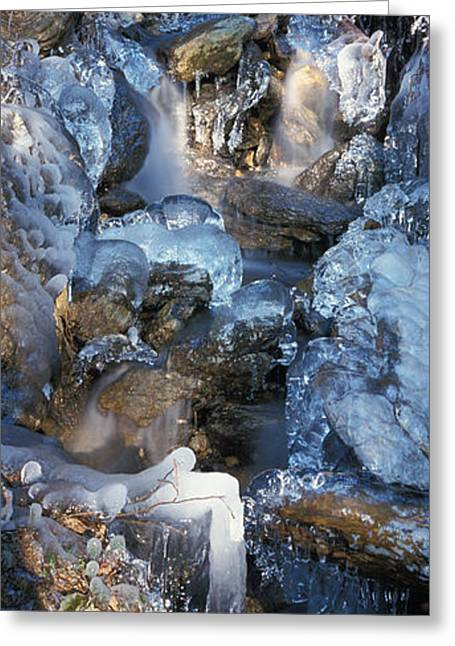 Beautiful Creek Greeting Cards - Ice is encrusting a waterfall Greeting Card by Intensivelight