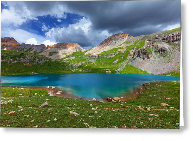 Dark Clouds. Greeting Cards - Ice Lake Afternoon Greeting Card by Darren  White