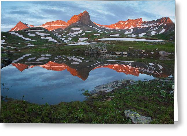 Golden Horn Greeting Cards - Ice Lakes Alpenglow Greeting Card by Aaron Spong