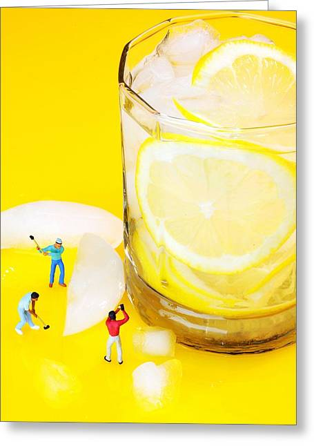 Creative People Greeting Cards - Ice making for lemonade little people on food Greeting Card by Paul Ge