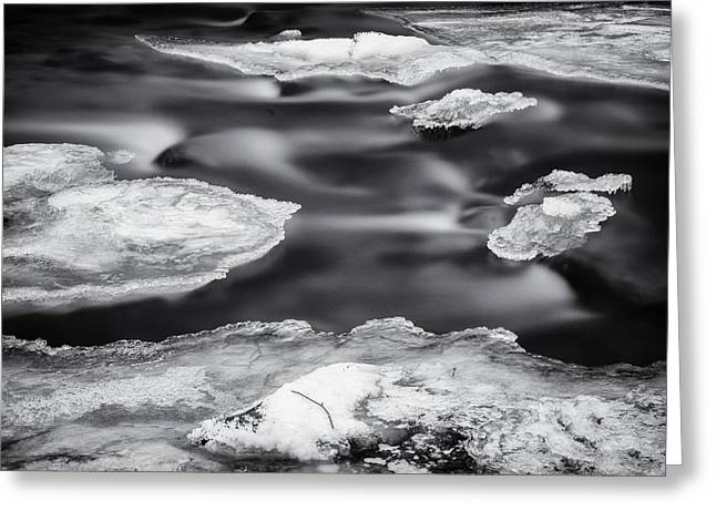 Ellicott Greeting Cards - Ice on the Patapsco Greeting Card by Geoffrey Baker