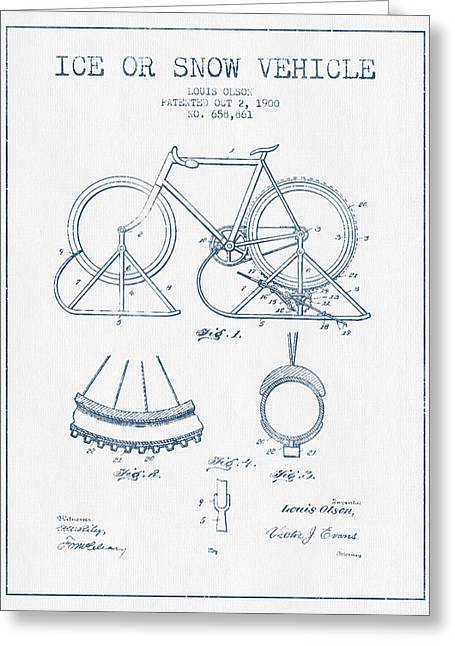 Vintage Bicycle Greeting Cards - Ice or snow Vehicle Patent Drawing from 1900  - Blue Ink Greeting Card by Aged Pixel