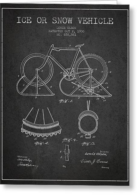 Bicycling Greeting Cards - Ice or snow Vehicle Patent Drawing from 1900 - Dark Greeting Card by Aged Pixel
