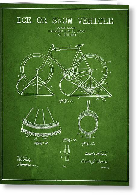 Vintage Bicycle Greeting Cards - Ice or snow Vehicle Patent Drawing from 1900 - Green Greeting Card by Aged Pixel