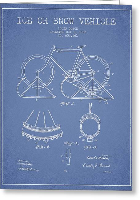 Vintage Bicycle Greeting Cards - Ice or snow Vehicle Patent Drawing from 1900 - Light Blue Greeting Card by Aged Pixel
