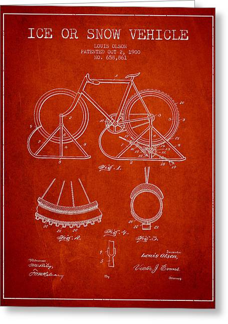 Vintage Bicycle Greeting Cards - Ice or snow Vehicle Patent Drawing from 1900 - Red Greeting Card by Aged Pixel