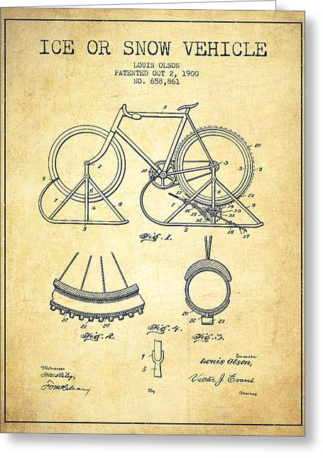 Vintage Bicycle Greeting Cards - Ice or snow Vehicle Patent Drawing from 1900 - Vintage Greeting Card by Aged Pixel