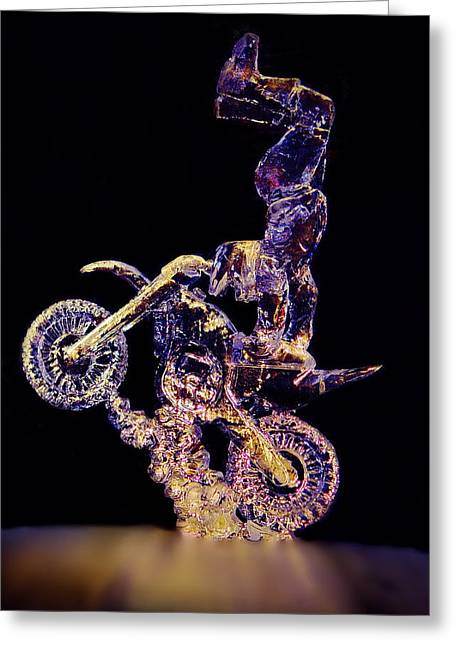 Motorcycles Sculptures Greeting Cards - Ice Rider Greeting Card by Larry Heins