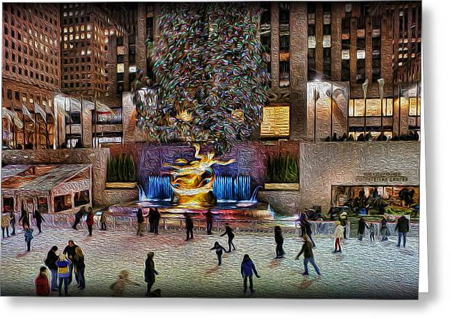 Ice-skating Greeting Cards - Ice Rink at Rockefeller Center Greeting Card by Lee Dos Santos