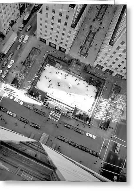 Ice-skating Pyrography Greeting Cards - Ice Rink from Above Greeting Card by Bill Morris