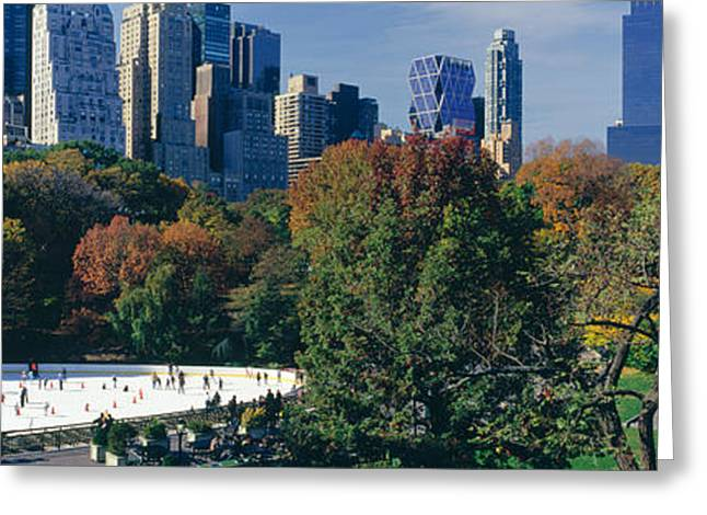 Central Park Winter Greeting Cards - Ice Rink In A Park, Wollman Rink Greeting Card by Panoramic Images