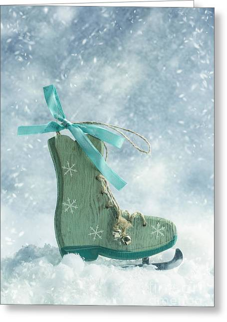 Jingle Greeting Cards - Ice Skate Decoration Greeting Card by Amanda And Christopher Elwell