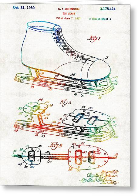 Pittsburgh Drawings Greeting Cards - Ice Skate Patent - Sharon Cummings Greeting Card by Sharon Cummings