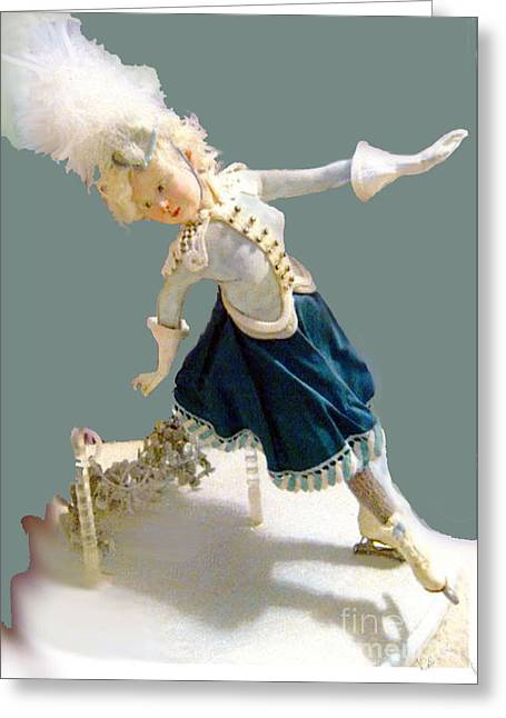 Movement Sculptures Greeting Cards - Ice Skater Greeting Card by Cecily Mitchell
