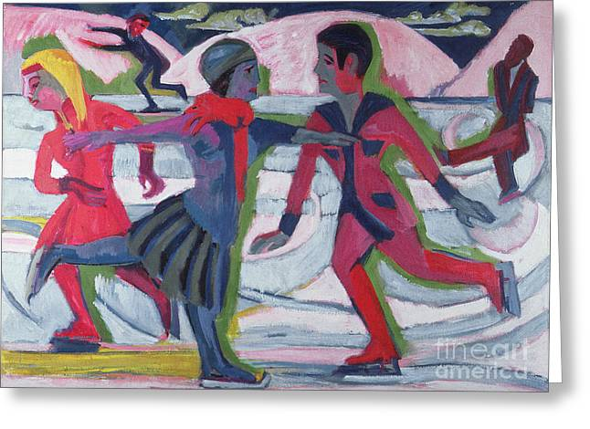 Skates Greeting Cards - Ice Skaters  Greeting Card by Ernst Ludwig Kirchner